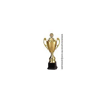 Złoty metalowy kubek z pokrywką