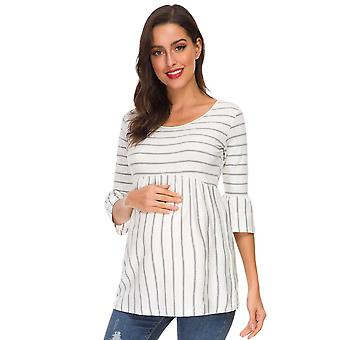 Ruffle Maternity Tops / Loose Pregnancy Blouse / Striped T-shirt Tunic- 3