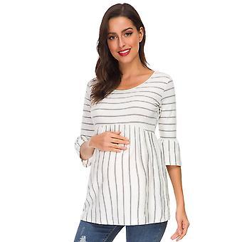 Ruffle Maternity Tops / Loose Sarcina Bluza / Dungi T-shirt Tunic- 3