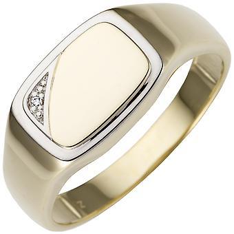 Anello uomo 585 Oro Giallo Oro bicolore 1 Diamond Brilliant Anello d'Oro
