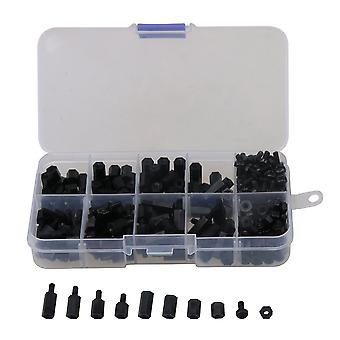 300 x Black Nylon M3 Hex Column Standoff Spacers Screws Nuts Box Kit