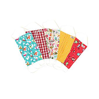 Mio Gifts Galore Cotton 5 Pack Christmas Face Mask