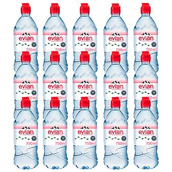 15 x 750ml Evian Sports Natural Still Mineral Water Bottle Hydrate Calcium