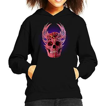 Red Rose Skull Kid's Hooded Sweatshirt