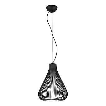 Italux Inksis - Pendente sospeso industriale e retrò Nero 1 Luce con tonalità metallo nero, E27