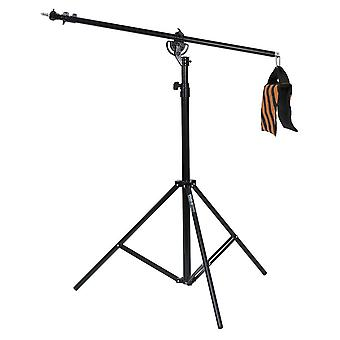 Phot-r® 4m heavy duty photo studio 2-in-1 combi light boom stand with sandbag and carry case
