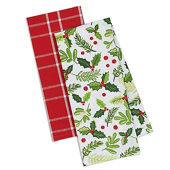 Dii Assorted Boughs Of Holly Dishtowel (Set Of 2)