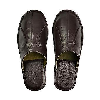 Luxury Leather Men Slippers Comfortable Bedroom Indoor Shoes