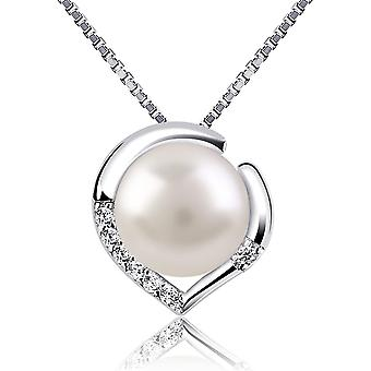 B.Catcher Silver Necklace Pearl Jewellery 925 Freshwater Pearl Heart Nekclaces