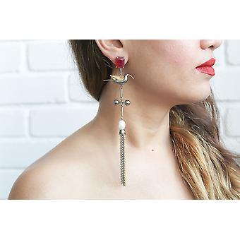 Long Humming Bird Earrings With Pearl