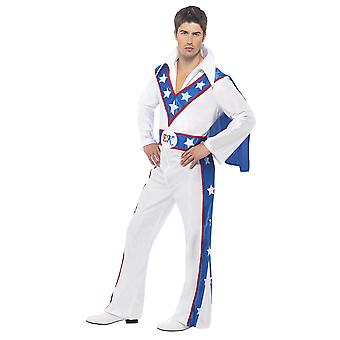 Smiffys men's evel knievel costume, all in one jumpsuit & attached cape, size: l color: white, 21126