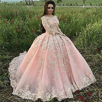 Vintage vaaleanpunainen pallo puku mekko