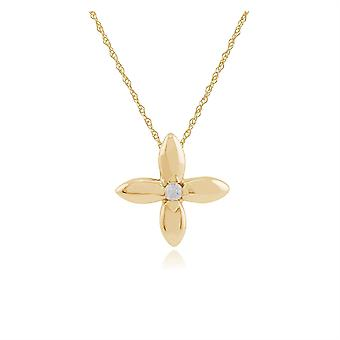 Floral Round Diamond Golden Flower Single Stone Pendant Necklace in 9ct Yellow Gold 191P0702019