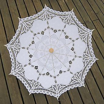 Puuvilla kirjonta morsius ja Battenburg pitsi aurinkovarjo, koristeellinen