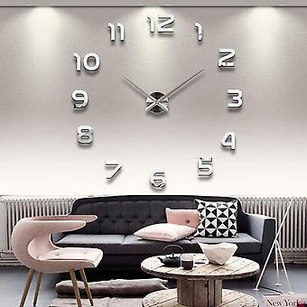 3D rahmenlose Wanduhr moderne stummgroße große Spiegelfläche diy Zimmer Home Büro Dekorationen