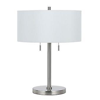 Lampe de table en métal de corps avec l'ombre de tambour de tissu et l'interrupteur de chaîne de traction, argent