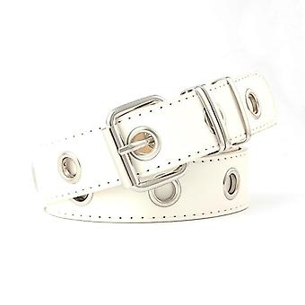Double Hole Pin Buckle Waist Belt For Jeans, Chain Luxury Pu Leather Belts