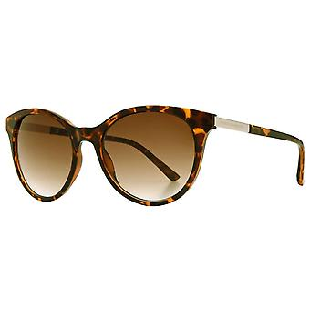 French Connection Soft Round Metal Trim Sunglasses - Brown Demi