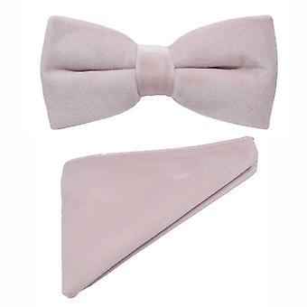 Dusky Pink Velvet Bow Tie & Ficka fyrkantig uppsättning