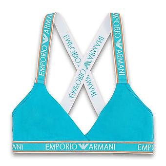 Emporio Armani Visibility Iconic Logoband Triangle Bralette, Water Green, Small