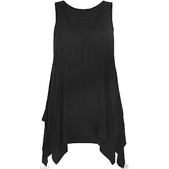 Ladies Asymmetric Hanky Hem Vest Top Tunic Flared Loose
