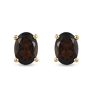 TJC Brown Quartz Stud Earrings in Gold Plated Silver Gift for Her 1.41ct