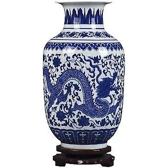 Blå og hvid porcelæn Blomstervase