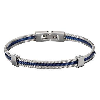 Pulsera de acero triple cable para hombre Bicolore Azul y Gris 'apos;DAIKO'apos;