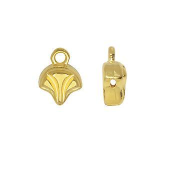 Cymbal Bead Endings para Ginko Beads, Modestos 10x7mm, 2 Piezas, 24k Gold Plated