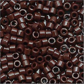 Miyuki Delica Seed Beads, 11/0 Size, 7.2 Grams, Opaque Chocolate Brown DB734