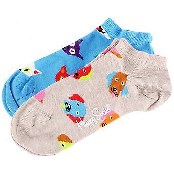 Happy Socks 2 Pack Cat and Dog Low Socks - Beige/Blue