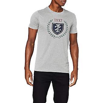 Izod Crest Printed Tee T-Shirt, Grey (Lt Grey Htr 052), L Man