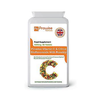 Vitamin C 1000mg with Rosehip & Bioflavonoids 90 Vegan & Vegetarian Tablets | Made in UK by Prowise