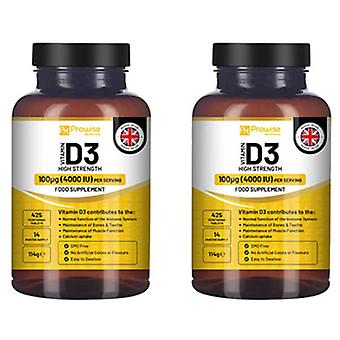 Pack of 2 - Vitamin D3 4000IU High Strength I 425 Vegetarian Tablets (14 Months Supply) by Prowise