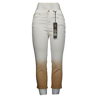 DG2 by Diane Gilman Women's Petite Jeans Dip Dye Crop Jean White 743663