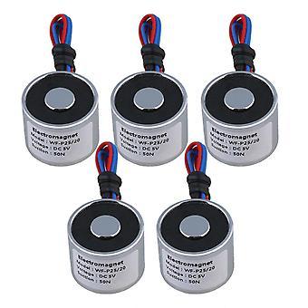 5pcs 5V DC 5kg 50N 0.8A電気リフティングホールディングマグネット電磁石4W WS3486用