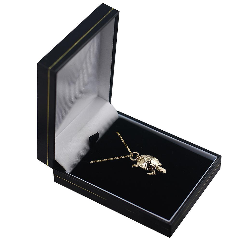 9ct Gold 22x12mm bewegliche Schildkröte Anhänger mit einem Kabel Kette 20 Zoll