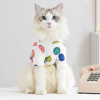 2 Colors smiley face pattern pet clothes cat clothing
