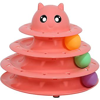 Cat Toy Roller Cat Toys 3 Level Towers Tracks With Six Colorful Ball