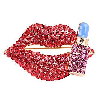 Sexy Women Brooch Red Lips Corsage Full Diamond Brooch Pin