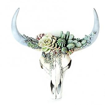 Succulent/flower Cow Skull Wall Decor Nursery Decor Resin Ornament With Hanging