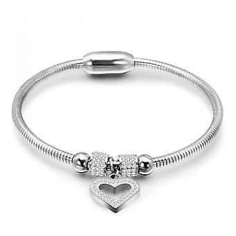 Hjärt charm bangles encrusted med kristaller från Swarovski - Silver 2 Pack