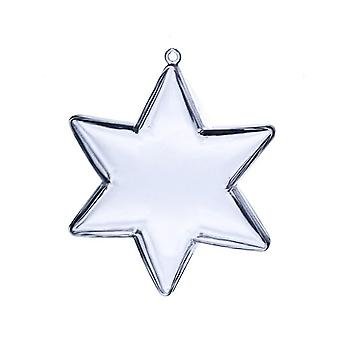 Star Shaped 100mm Two-Part Plastic Fillable Christmas Bauble Ornament