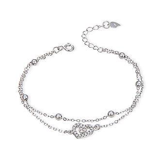 Brățări de placare cu argint pentru femei Love Heart Charm Lanț brățară bijuterii de moda de nunta