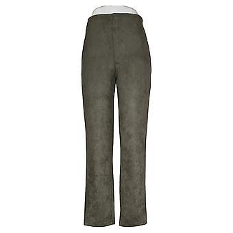 MarlaWynne Women's Pants Faux Suede Straight Leg Green 723288