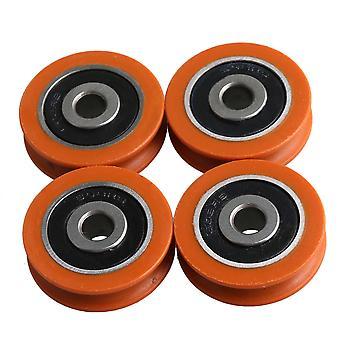 Pulleys, blocks sheaves 4pcs nylon ball bearing steel u-type groove guide pulley load-bearing 77kg orange