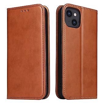 For iPhone 13 Mini Case Skinn Flip Lommebok Folio Cover Med Stativ Brun