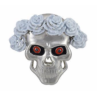 Chrome Skull W/ White Roses Wig Belt Buckle Dead