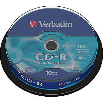 Verbatim CD-R 52 x 700 MB, 80 min. / 10er-Pack, Spindel, Extraschutz