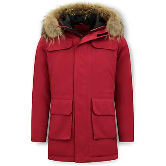 Parka Winter coat With Big Real Fur Collar - Red